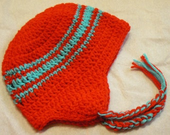 Hand Crocheted Child Earflap Hat (12 mnts to 3T)