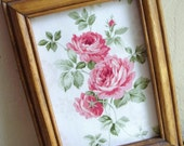 Shabby Chic Wood Framed Floral Fabric Roses - Treasury Item SALE Priced