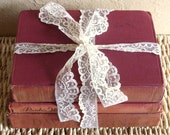 Set of 3 Antique Books for Home Decor in Burgundy Red Tan Cream
