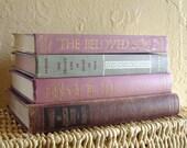 Set of 4 Antique Books for Home Decor in Purples - Treasury Item