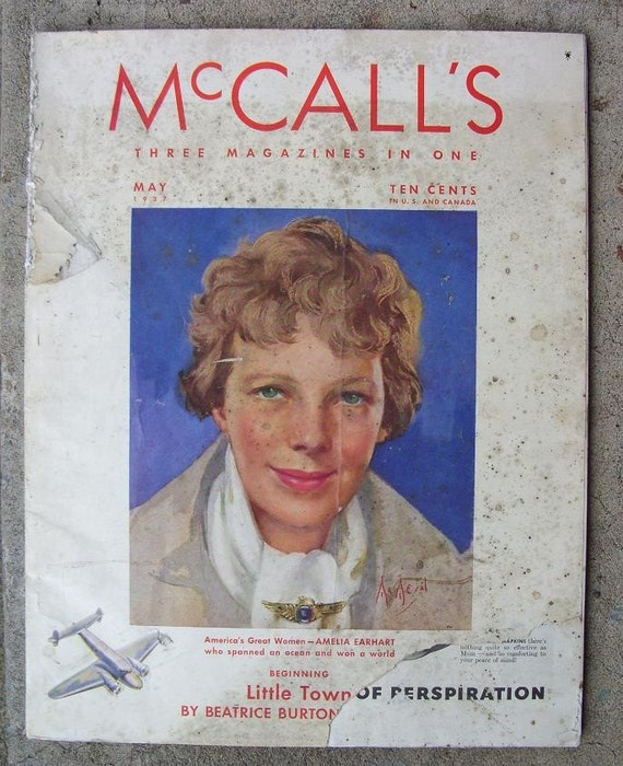 RARE Vintage Antique May 1937 McCall's Magazine Amelia Earhart on Cover WAS 20.00 Sale