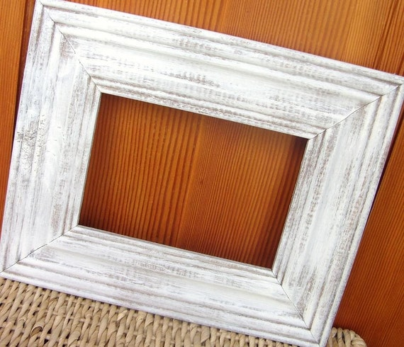 Shabby chic white washed cottage style old wood frame for Bungalow style picture frames