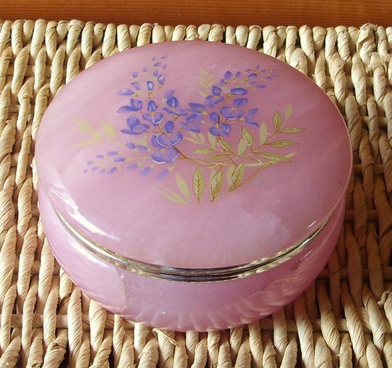 Vintage Pink with Lavender Opaline Marble Glass Make-up Dish with Hinged Lid SALE