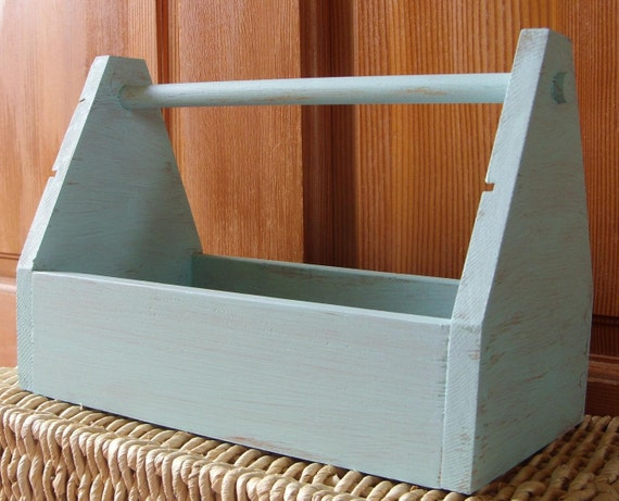Rustic Wood Tool Box Caddy Painted Turquoise Blue - Treasury Item