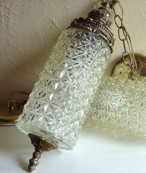 Beautiful Hanging Light Fixture Long Clear Glass By