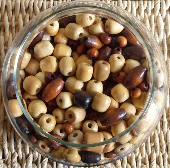 Wooden Beads Natural Blonde Dark Brown Tan Wood Beads 4 Cups Lot