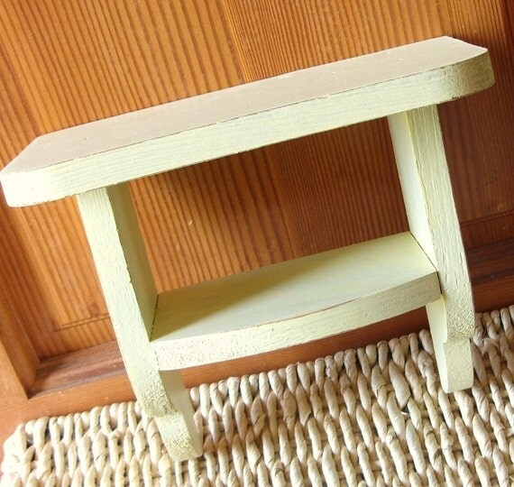 Rustic Sunshine Yellow Wood Wall Shelf 2 Shelves