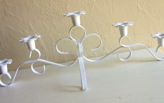 Shabby Chic White with Silver Candelabra Centerpiece for 5 Candles Curvy