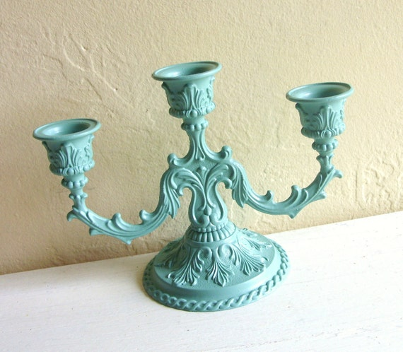 Teal green metal candelabra centerpiece for by shabbynchic