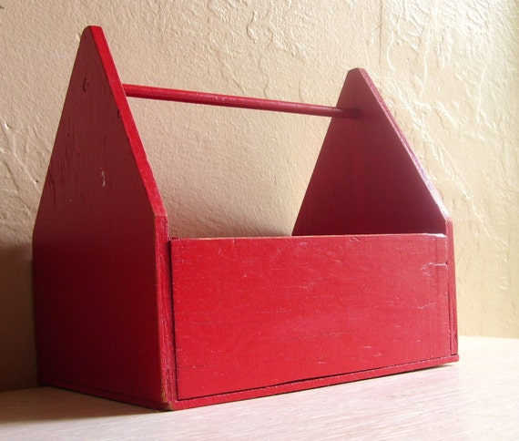 Fire Engine Red Wood Tool Box Caddy with Metal Handle