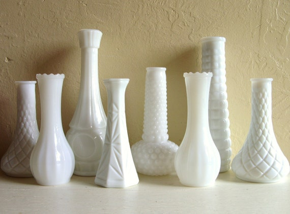 Instant Collection of White Milk Glass Vases 8 Eight Wedding Centerpiece