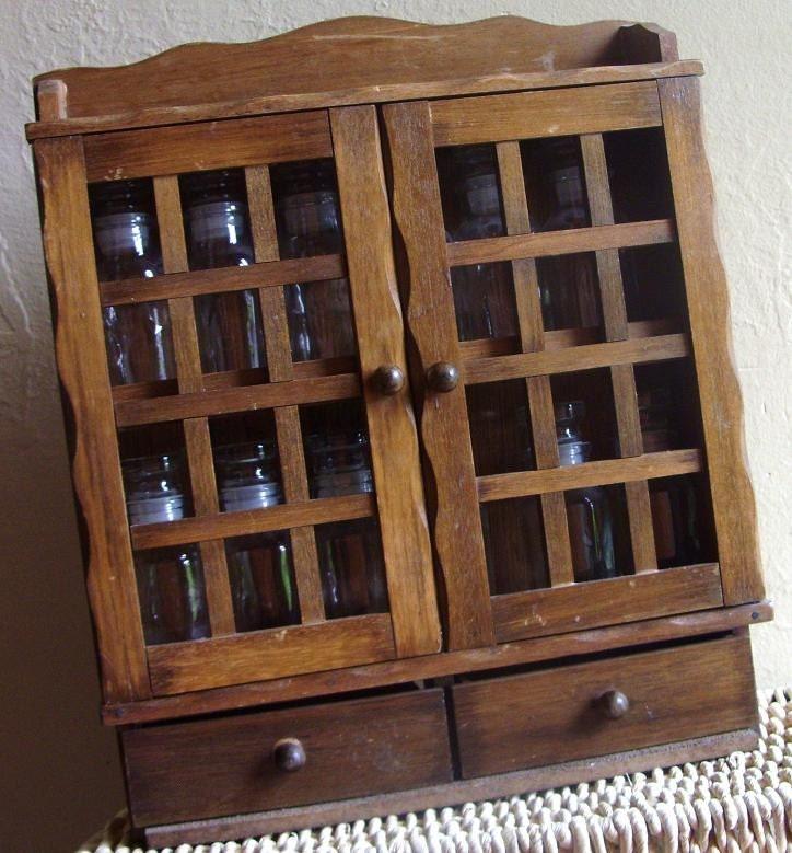 Vintage wood spice rack cabinet glass storage jars