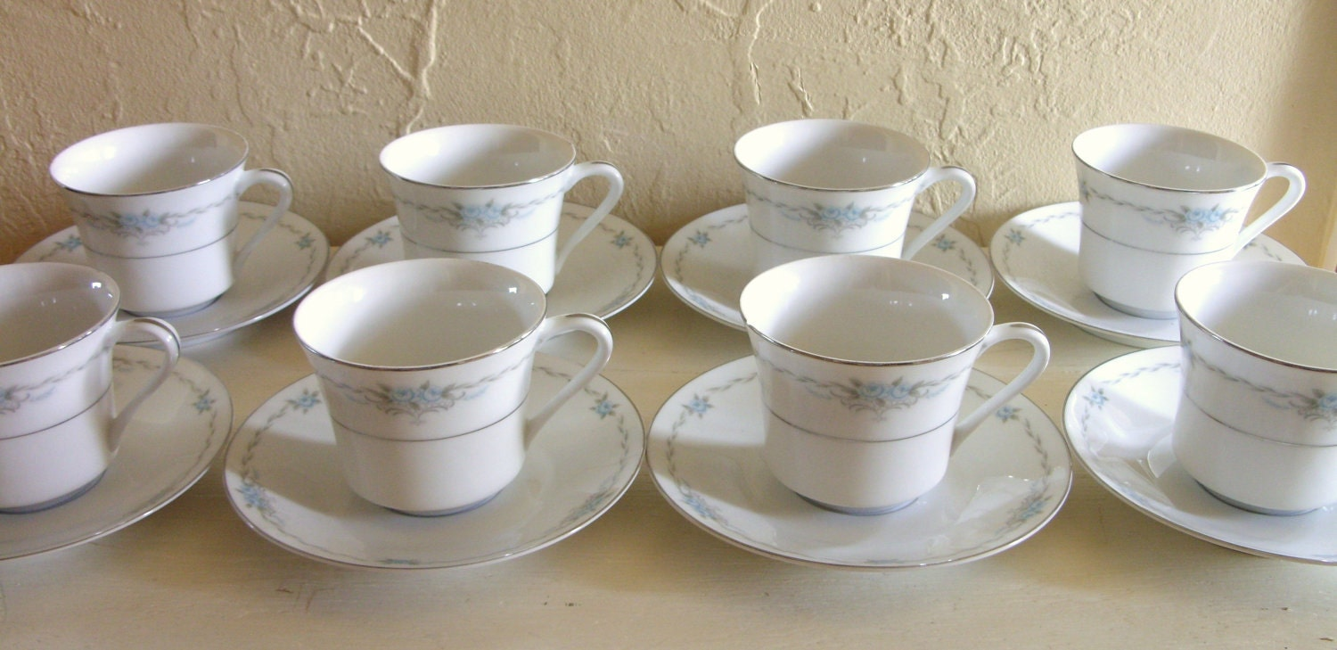 Style House Corsage Blue Rose Fine China Tea Set 20 By
