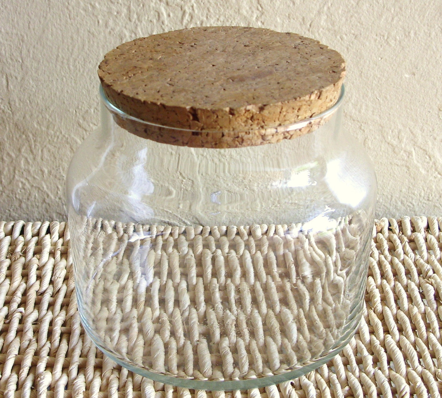large glass apothecary jars with cork lid. Black Bedroom Furniture Sets. Home Design Ideas