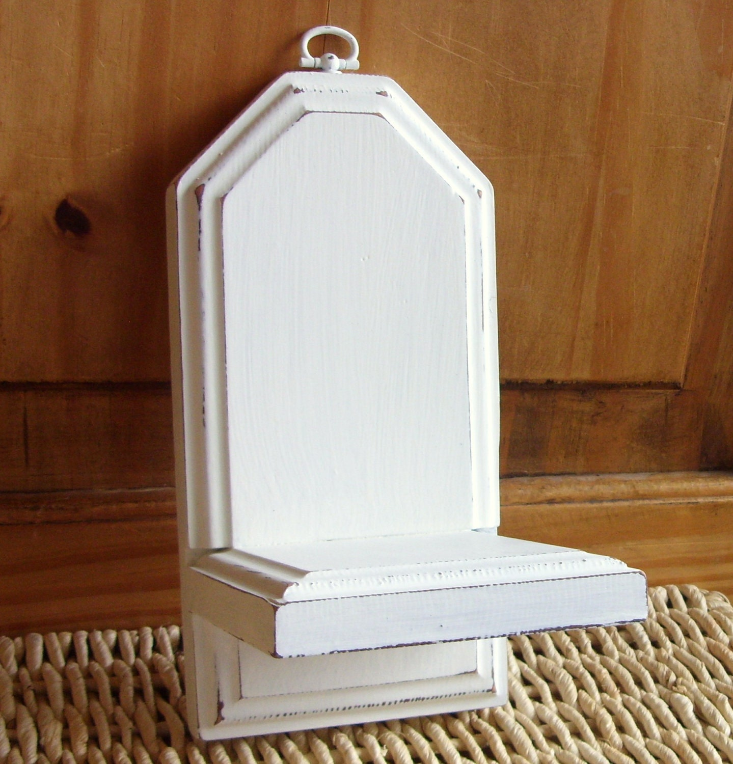 Shabby Chic White Wall Niche Small Wooden Shelf