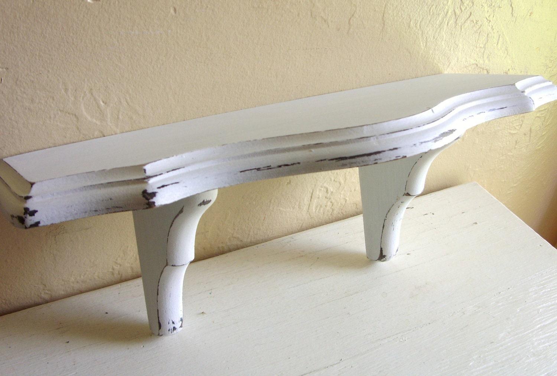 Shabby Chic White Curvy Wood Wall Shelf Distressed