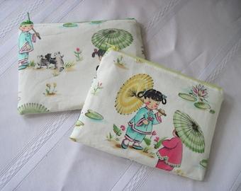 zipper purse - Geisha print