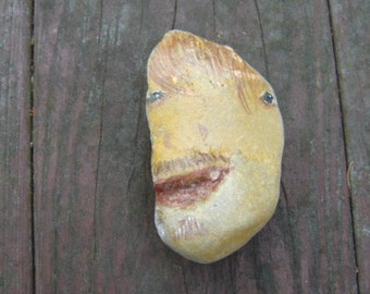 Painted Stone, Paper Weight Stone, Guy Stone, Lake Stone, by gardenstones on etsy