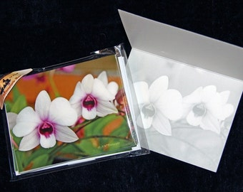 Note Cards, 5, 10 or 20 Pack Vibrant Orchids w/ Envelopes