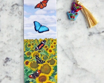 Laminated Butterfly Fields Forever Sunflowers Photo Bookmark w/ Cloisonne Beads