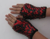 Scalemail Dragonhide Knitted Armor Gauntlets in Red and Black choose your size