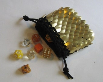 Armor Dice Bag for the Dwarven Miner knitted Dragonhide Scale Maille