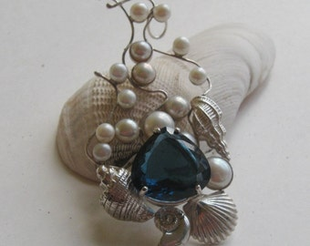 Blue Topaz Pendant  in Sterling Silver Ocean Treasure