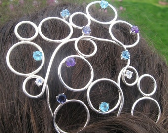 Gems and Bubbles Sterling Silver Hair Fork
