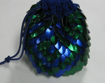 Scalemail Armor Dice Bag of Holding Blue and Green Maze in knitted Dragonhide Extra Large