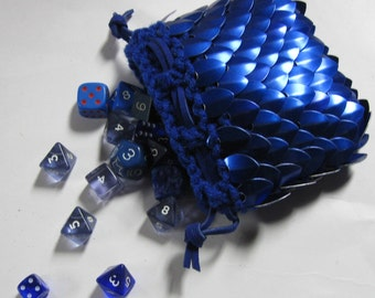 Scale Maille Dice Bag of knitted Dragonhide Armor Blue