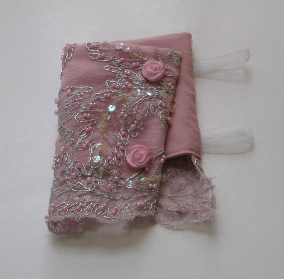 Pink Lace Cuffs Beaded and Embroidered