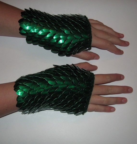 Scale Maille Armor Gauntlets Forest Green Knitted Dragonhide