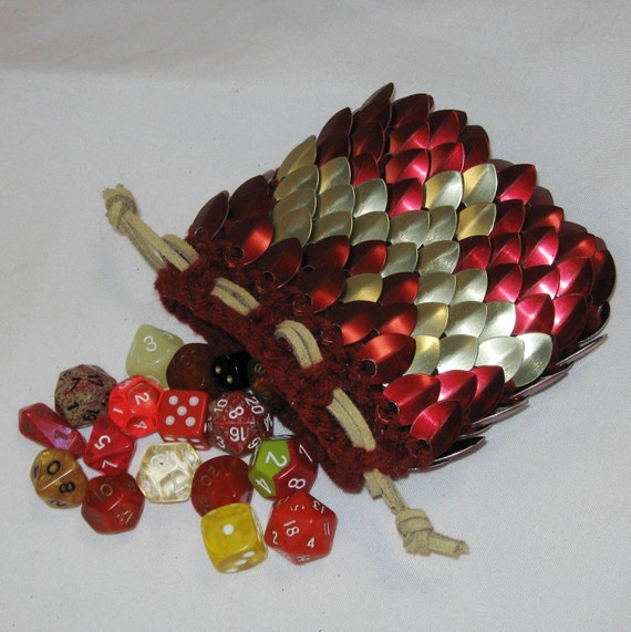 Armor Dice Bag in Dragonhide knitted Scale Maille Firebird