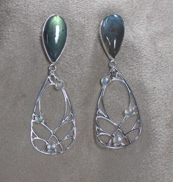 Labradorite Earrings with Sterling Silver Openwork