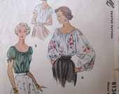 1950s McCalls Misses Blouse Pattern Size 16 No 8134