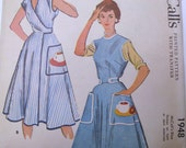 1950s McCalls Misses Wrap Around Apron Pattern Size Medium No 1948