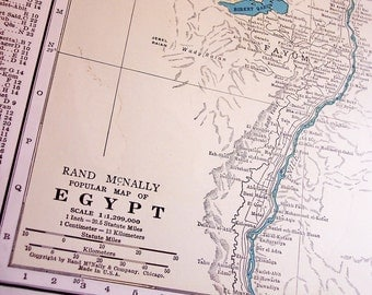 Vintage 1940s Egypt Map, old Atlas map for wall decor