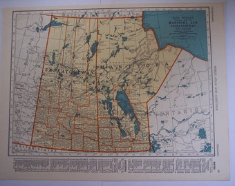 1940s Vintage map, Manitoba and Saskatchewan, British Columbia and Alberta, Old Canada Province map