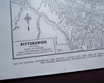 Pittsburgh Pennsylvania, 1940s Vintage City Map, old antique street map, wall art map