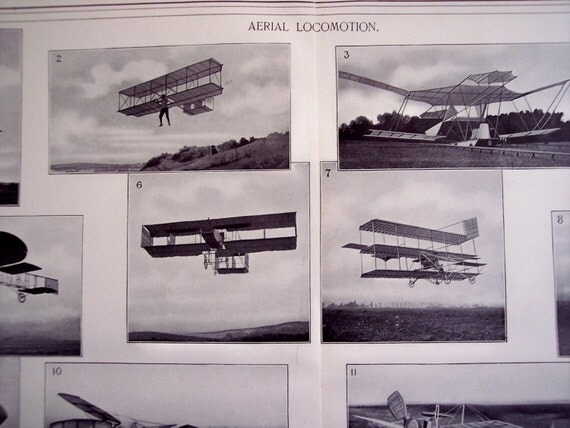 1909 Airplanes, Aerial Locomotion, Dirigible Airship, Helicopter, zeppelin, Large vintage print to frame