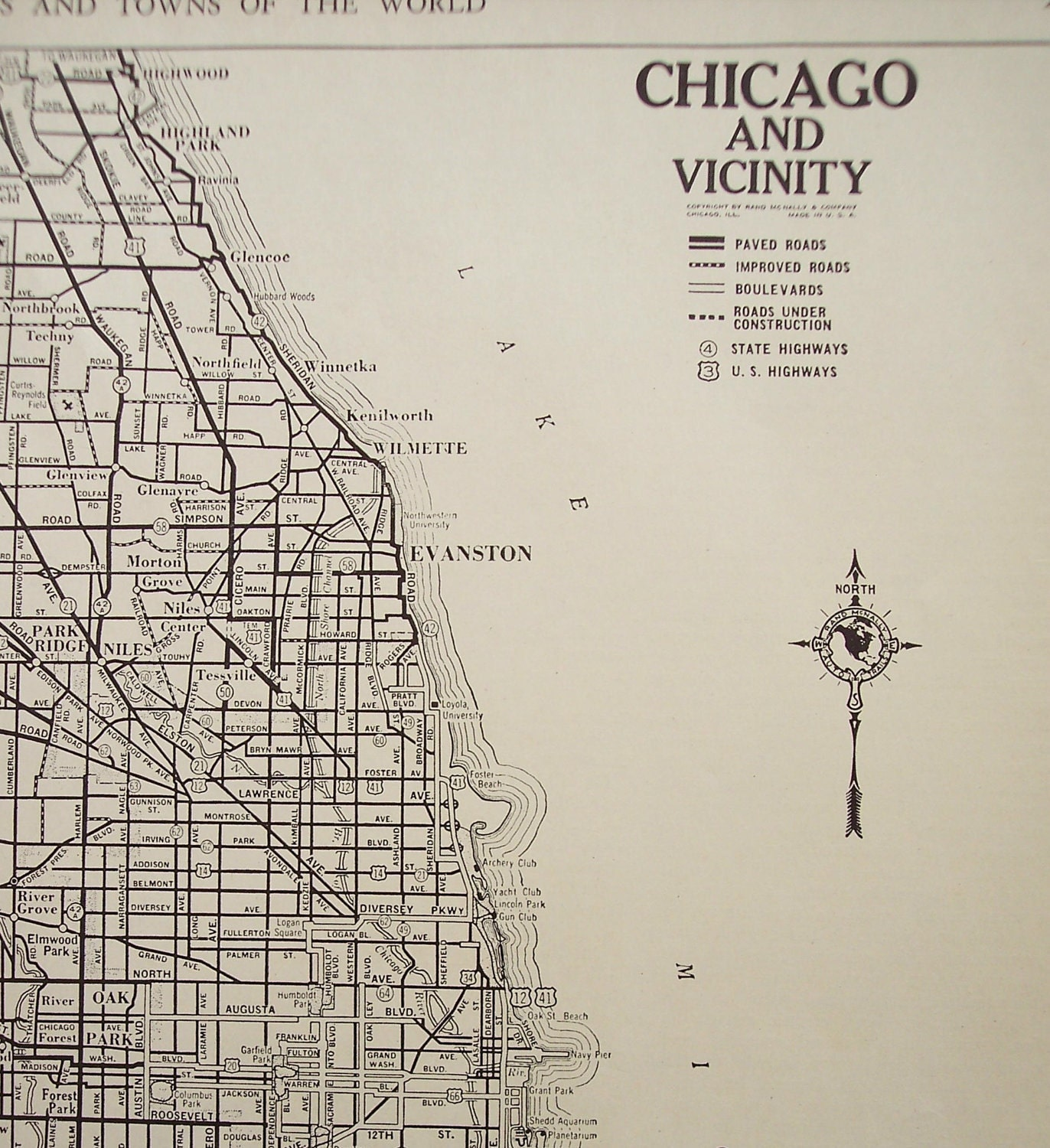 1941 City Map Chicago Illinois Vintage Street By