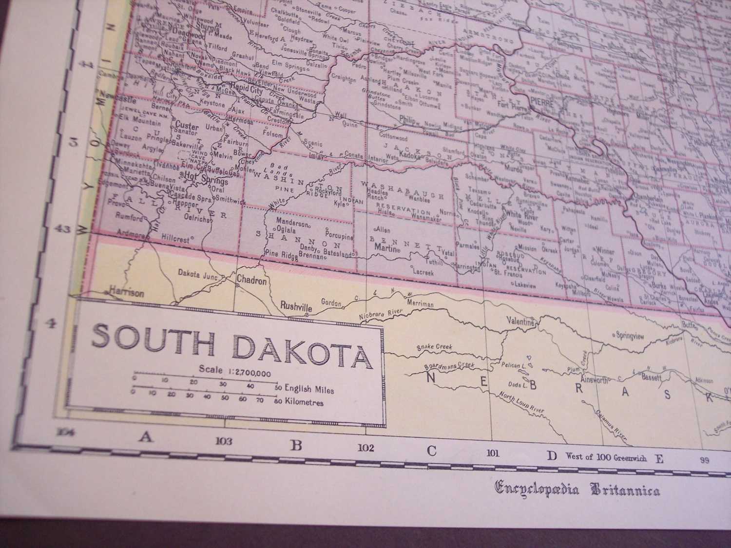 State Map Of South Dakota And Iowa 1929 By Moosehornvintage
