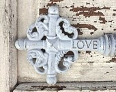 Large Cast Iron Rustic Old Fashioned Skeleton Key Wall Decor, Pale Blue Cottage Country Style