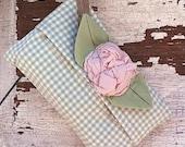 Shabby Little Tissue Holder....Soft Green Gingham and a Shabby Rose Flower
