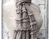 Rustic Ruffled French Cotton Knit Scarf,  Raw Edges and Tattered Clothing, Lightweight