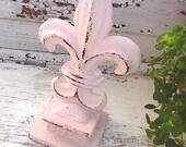 Fleur de Lis, Metal Home Decor , Shabby Chic Pink,  Paper Weight, Pedestal