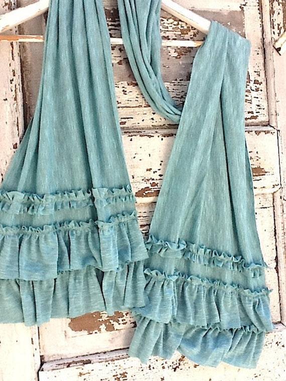 Ruffled Scarf Soft Aqua, Knit Cotton, Lightweight and Raw Edged
