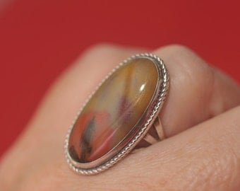 Vintage Agate Stone Sterling Silver Ring
