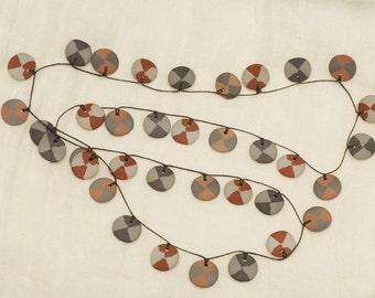 SALE - Clay Disc Necklace - Vintage FABULOUS