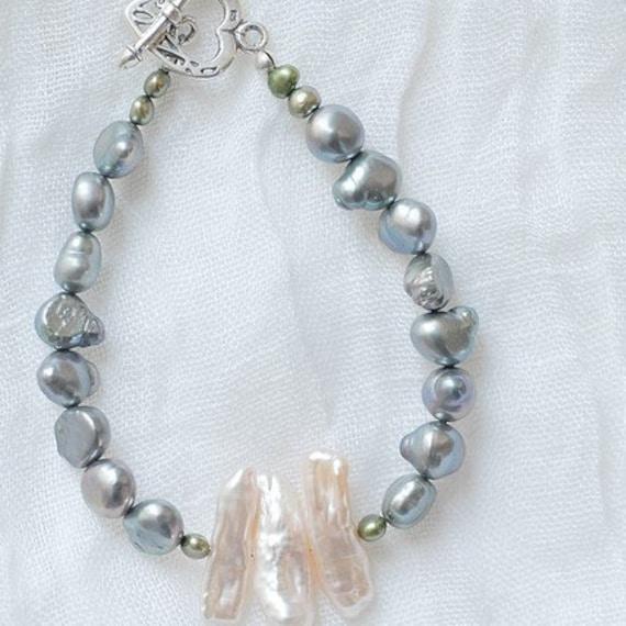Kelly - Pearl Bracelet - Sterling Heart Clasp